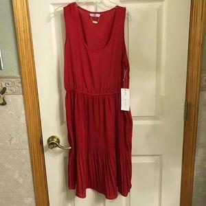 Ali & Kris red satin pleated dress Size M